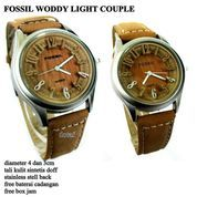 JAM TANGAN PASANGAN ALBA COUPLE WOODY KULIT LIGHT FULL SET