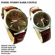 JAM TANGAN PASANGAN FOSSIL COUPLE WOODY KULIT DARK COKLAT FULL SET