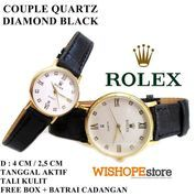 JAM TANGAN COUPLE KULIT CROCO ROLEX DIAMOND TANGGAL AKTIF HITAM