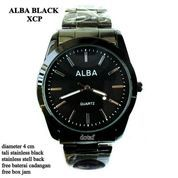 JAM TANGAN ALBA COUPLE XCP STAINLESS FULL SET BLACK 4 cm