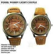 JAM TANGAN PASANGAN FOSSIL COUPLE WOODY KULIT LIGHT COKLAT FULL SET
