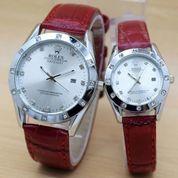 Jam Tangan Couple / pasangan Rolex tali kulit Simple elegant