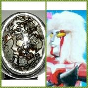 Akik Badar Perak (Pyrite) Pict Megaloman Face Antik Plus Memo.Code 1