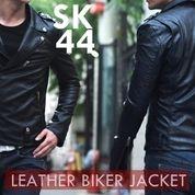 Jaket Kulit Pria, Jaket Keren, Jaket Kulit Biker Black Stylish | SK-44