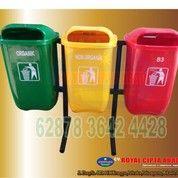 Tempat Sampah Pilah 3 Oval Bbahan Fiber
