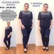 Ayota Ripped Jeans Celana Jumbo Wanita Bigsize Ukuran Besar Limited