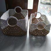 Keranjang Anyaman Rectangel Baskets 1 Set Isi 2 Keranjang
