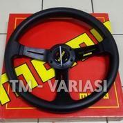 Stir Racing Logo Momo 14 Inchi Tengah Motif Carbon Palang Hitam