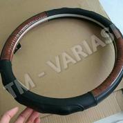 Sarung Stir Cover Stir Mobil Kulit Asli Hitam Kombinasi Wood