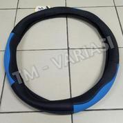 Sarung Stir Import Cover Stir Mobil Kulit Hitam Kombinasi Biru