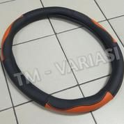 Sarung Stir Import Cover Stir Mobil Kulit Hitam Kombinasi Orange