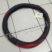 Sarung Stir Import Cover Stir Mobil Kulit Hitam Kombinasi Merah