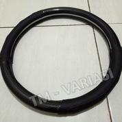 Sarung Stir Cover Stir Mobil Kulit Asli Genuine Leather Full Hitam Kombinasi Carbon