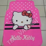 Karpet Mobil Universal Motif Hello Kitty Pink Dot Putih Garis Hitam