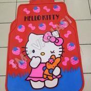 Karpet Mobil Universal Motif Hello Kitty Pink Strawberry Pink Dasar Merah