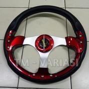 Stir Racing Momo 13 Inchi Import Merah Motif Rendah Palang Silver