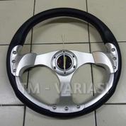 Stir Racing Momo 13 Inchi Import Silver Motif Rendah Palang Silver
