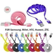 Kabel Charger Pipih / Gepeng Warna 100cm 1A Android
