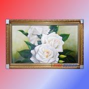 Lukisan Bunga Mawar Putih Cantik Dan Menawan