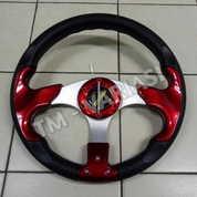 Stir Racing Momo 13 Inchi Import Palang Silver Motif Merah Polos Universal