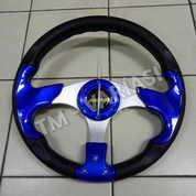 Stir Racing Momo 13 Inchi Import Palang Silver Motif Biru Polos Universal