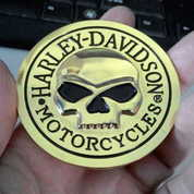 Emblem Metal 3D Gold Harley Skull