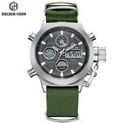 GOLDEN HOUR Silver 103 Jam Tangan Sport Military Pria Dual Display