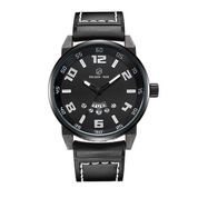 GOLDEN HOUR 109 Jam Tangan Kasual Pria Sporty Tali Kulit Asli - Black White