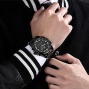 Jam Tangan GOLDEN HOUR 110 Jam Tangan Luxury Sports Military Pria Dual Display Tali Kulit - Black
