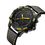 Jam Tangan GOLDEN HOUR GH113 Yellow - Jam Tangan Kasual Pria Dual Time Series