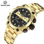 GOLDEN HOUR GH115 Original Jam Tangan Pria - Stainless Steel Gold