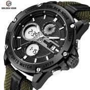 GOLDEN HOUR GH116 Original Black - Jam Tangan Kasual Sporty Pria/ Military Watches
