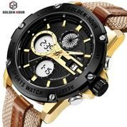 GOLDEN HOUR GH116 Original Gold - Jam Tangan Kasual Sporty Pria/ Military Watches
