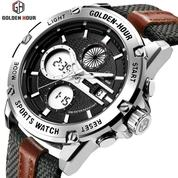 GOLDEN HOUR GH116 Original Silver - Jam Tangan Kasual Sporty Pria/ Military Watches