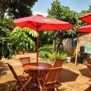 Tenda Payung Jati Set Lengkap Meja Kursi