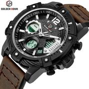 GOLDEN HOUR GH120 Original Black - Jam Tangan Army/ Military Watches Dual Time