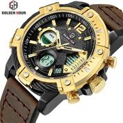 GOLDEN HOUR GH120 Original Gold - Jam Tangan Army/ Military Watches Dual Time