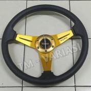 Stir Racing MOMO 14 Inchi Hitam Warna Palang Gold Import