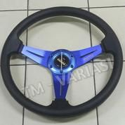 Stir Racing MOMO 14 Inchi Hitam Warna Palang Biru Import