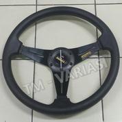 Stir Racing MOMO 14 Inchi Hitam Warna Palang Hitam Ring Dove Import