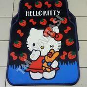 Karpet Mobil Universal Motif Hello Kitty Strawberry Pita Merah Dasar Hitam