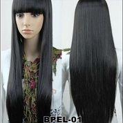 Supplier Wig Wanita Murah - Rambut Palsu Wanita Terbaru - Wig Wanita Hitam Panjang Poni Depan