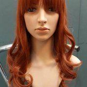 Distributor Wig Wanita Murah - Rambut Palsu Murah - Wig Wanita Orange Dark Panjang Curly