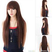 Distributor Wig Wanita - Rambut Palsu Terbaru - Wig Wanita Panjang Sepinggang Poni Depan Darkbrown