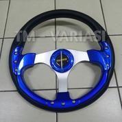 Stir Racing Momo 13 Inchi Import Palang Silver Motif Biru Baut Universal