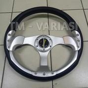 Stir Racing Momo 13 Inchi Import Palang Silver Motif Silver Baut Universal