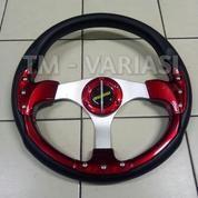 Stir Racing Momo 13 Inchi Import Palang Silver Motif Merah Baut Universal