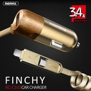 Remax Finchy Car Charger RC-C103 2 In 1 Cable Micro USB Dan Lightning