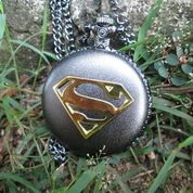Jam Saku Antik Superman P961 New Stainless Steel With Necklace Chain