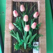 Hiasan Dinding Bunga Dgn Bingkai Terbuat Dari Marmer Asli Alam